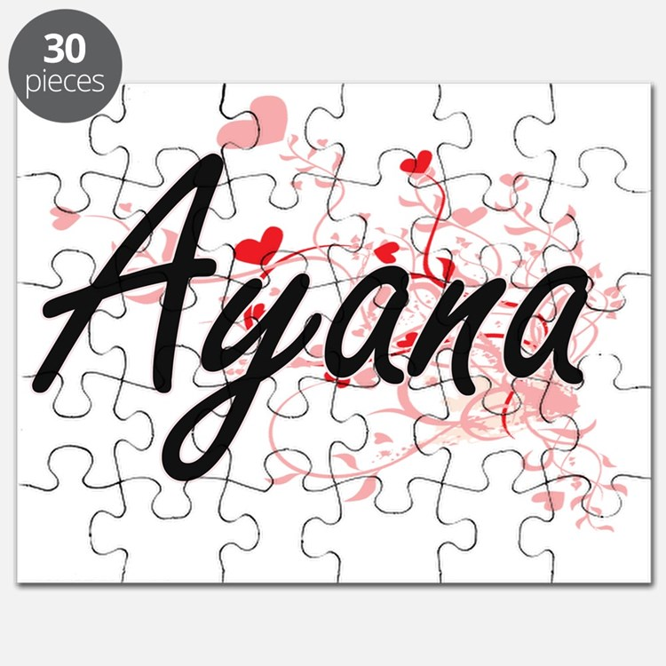 Ayana Artistic Name Design with Hearts Puzzle