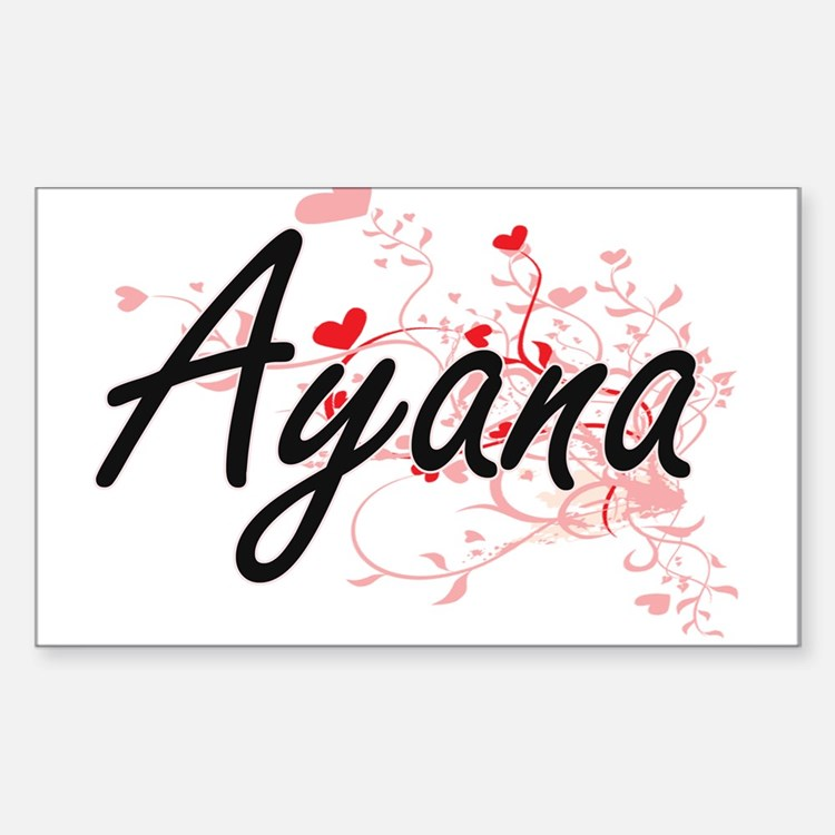 Ayana Artistic Name Design with Hearts Decal