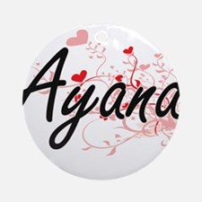 Ayana Artistic Name Design with H Ornament (Round)