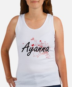 Ayanna Artistic Name Design with Hearts Tank Top