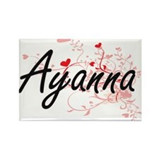Ayanna Artistic Name Design with Hearts Magnets
