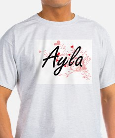 Ayla Artistic Name Design with Hearts T-Shirt