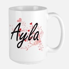 Ayla Artistic Name Design with Hearts Mugs