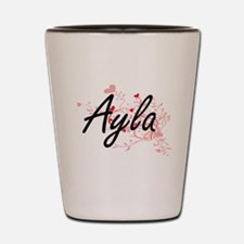 Ayla Artistic Name Design with Hearts Shot Glass