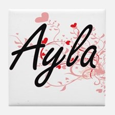 Ayla Artistic Name Design with Hearts Tile Coaster