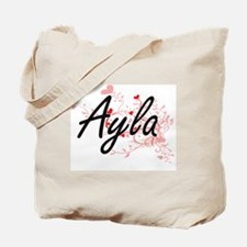 Ayla Artistic Name Design with Hearts Tote Bag