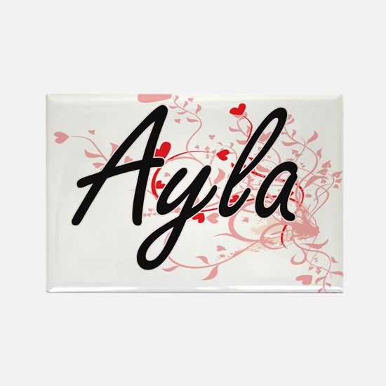 Ayla Artistic Name Design with Hearts Magnets