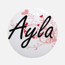 Ayla Artistic Name Design with He Ornament (Round)