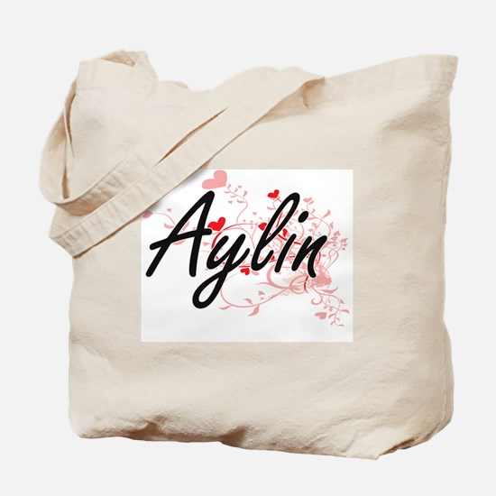 Aylin Artistic Name Design with Hearts Tote Bag