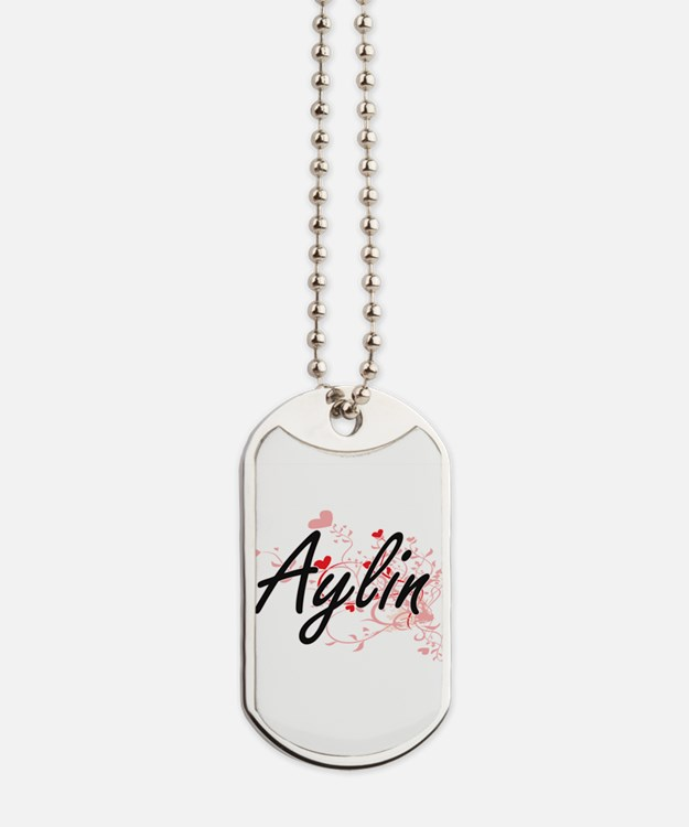 Aylin Artistic Name Design with Hearts Dog Tags