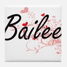 Bailee Artistic Name Design with Hear Tile Coaster