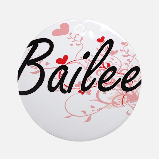 Bailee Artistic Name Design with Ornament (Round)