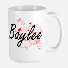 Baylee Artistic Name Design with Hearts Mugs