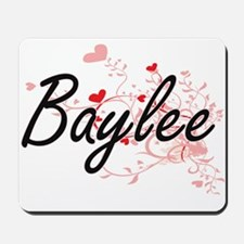 Baylee Artistic Name Design with Hearts Mousepad