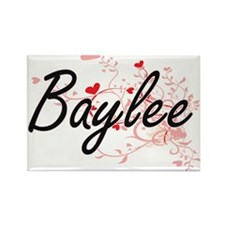Baylee Artistic Name Design with Hearts Magnets