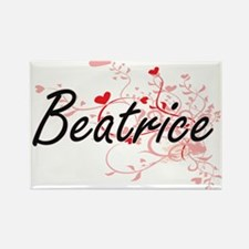 Beatrice Artistic Name Design with Hearts Magnets