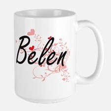 Belen Artistic Name Design with Hearts Mugs