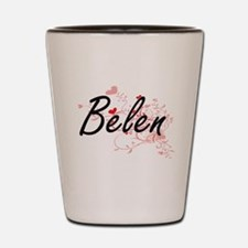 Belen Artistic Name Design with Hearts Shot Glass