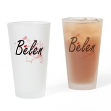 Belen Artistic Name Design with Hea Drinking Glass