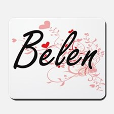 Belen Artistic Name Design with Hearts Mousepad