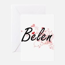 Belen Artistic Name Design with Hea Greeting Cards