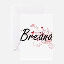 Breana Artistic Name Design with He Greeting Cards