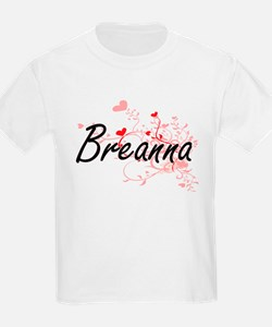 Breanna Artistic Name Design with Hearts T-Shirt