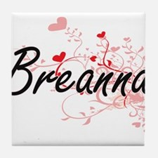 Breanna Artistic Name Design with Hea Tile Coaster