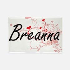 Breanna Artistic Name Design with Hearts Magnets