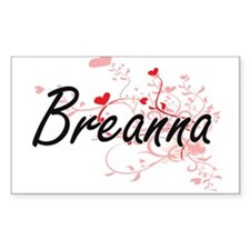 Breanna Artistic Name Design with Hearts Decal