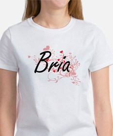 Bria Artistic Name Design with Hearts T-Shirt