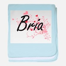 Bria Artistic Name Design with Hearts baby blanket