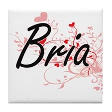 Bria Artistic Name Design with Hearts Tile Coaster