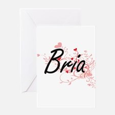 Bria Artistic Name Design with Hear Greeting Cards