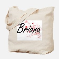 Briana Artistic Name Design with Hearts Tote Bag
