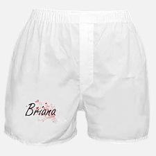 Briana Artistic Name Design with Hear Boxer Shorts