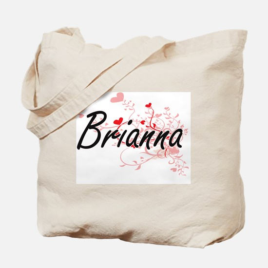 Brianna Artistic Name Design with Hearts Tote Bag