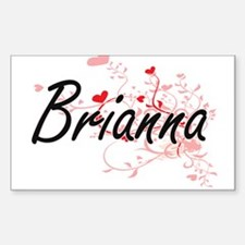 Brianna Artistic Name Design with Hearts Decal