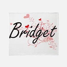 Bridget Artistic Name Design with He Throw Blanket
