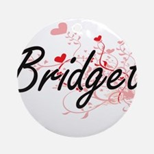 Bridget Artistic Name Design with Ornament (Round)
