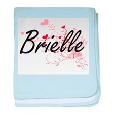 Brielle Artistic Name Design with Hea baby blanket