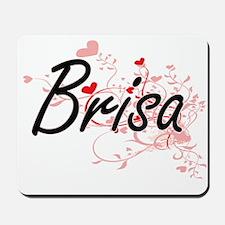 Brisa Artistic Name Design with Hearts Mousepad