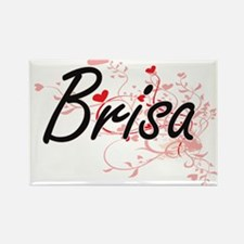 Brisa Artistic Name Design with Hearts Magnets