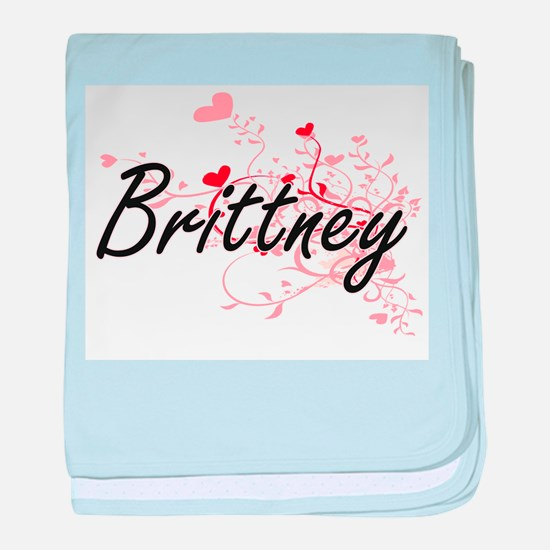 Brittney Artistic Name Design with He baby blanket
