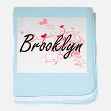 Brooklyn Artistic Name Design with He baby blanket
