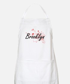 Brooklyn Artistic Name Design with Hearts Apron