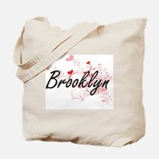 Brooklyn Artistic Name Design with Hearts Tote Bag