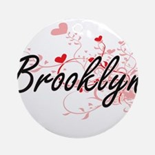 Brooklyn Artistic Name Design wit Ornament (Round)