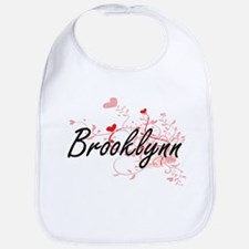 Brooklynn Artistic Name Design with Hearts Bib