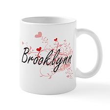 Brooklynn Artistic Name Design with Hearts Mugs